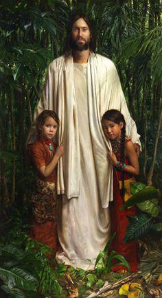 Dejar que los niños vengan a mi de ellos es el cielo. Espíritu de Dios. Images Du Christ, Images Bible, Pictures Of Jesus Christ, Arte Lds, Lds Pictures, Religious Pictures, Angel Pictures, Image Jesus, Jesus Christus