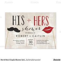"His & Hers Couple Shower Invitation 5"" X 7"" Invitation Card"