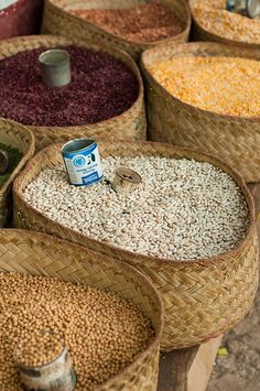 Beans and Pulses in a Madagascar market.   Photo credit: Tom McShane