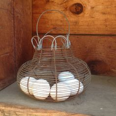 Vintage French Egg Basket Wire Egg basket by BetterThanBellows