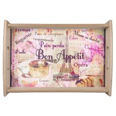 Bon Appetit French cuisine words and pictures Serving Platters