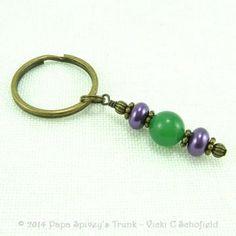 Mardis Gras Purple and Green Aventurine Key Ring 2126331