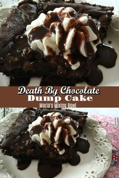 Death By Chocolate Dump Cake is a simple and delicious cake your family will want you to make over and over again It s one of our favorite desserts chocolate rich dump cake cakemix easy dessert Easy Chocolate Desserts, Köstliche Desserts, Chocolate Recipes, Delicious Desserts, Chocolate Dump Cakes, Death By Chocolate Cake, Chocolate Chocolate, Homemade Desserts, Winter Desserts