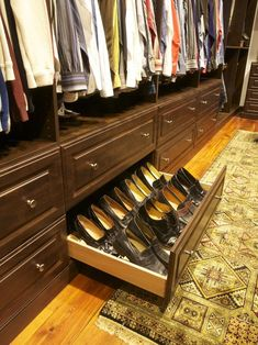 Shoe drawers in the bottom but make sure to use shoe trees & watch storage drawer | watches | Pinterest | Watch storage Storage ...