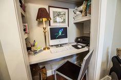 Creative idea to turn a closet into and office.  Hall closet?