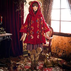 Knit coat bear coat red sweater