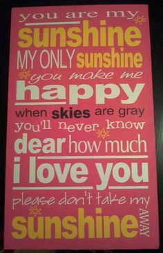 "You are my sunshine subway vinyl art x 20 "" Vinyl Crafts, Vinyl Projects, Vinyl Art, You Make Me Happy, Love You, My Love, Sing To Me, Me Me Me Song, Sign Quotes"