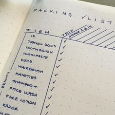 Bullet Journal Packing List: This one will hold 17 trips and all the basics are listed and categorized.