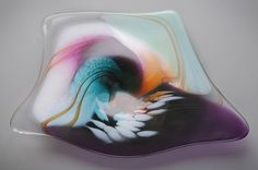 sharon fujimoto glass | Sharon Fujimoto Hand Blown Art Glass - Plates