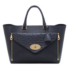 Mulberry - Willow Tote in Navy Classic Calf & Ostrich Mix