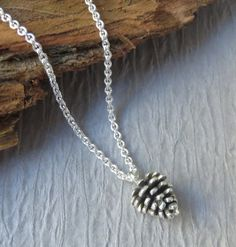Pine Cone Necklace, sterling silver, large pinecone, rustic jewelry, silver pinecone necklace, gift for her, nature jewelry, tree necklace