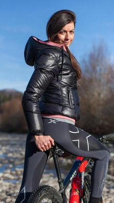 Bicycle Girl, Bike, Compression Pants, Modern Fashion, Fitness, Leather Pants, Chic, Girls, Style