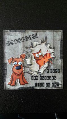 Kaart met stempels Crazy Cat & Crazy Dog van Tim Holtz, stempel Katzelkraft op de achtergrond. Gemaakt door Diana. Crazy Bird, Crazy Dog, Crazy Cats, Tim Holtz Dies, Tim Holtz Stamps, Dog Cards, Bird Cards, Crazy Animals, Cute Cats And Dogs
