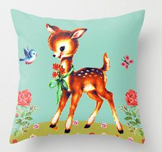 Vintage Kitsch Deer Cushion by jollywolly on Etsy