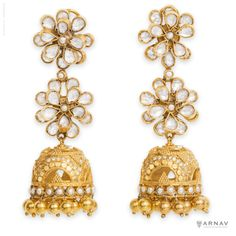 Flowers Adorning Bells Earrings - Arnav & Co. Silver(92.5) with cultured pears and natural crystals.