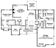 First Floor Plan of Contemporary   Country   Craftsman   Traditional   House Plan 59436