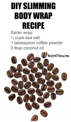 Diy body wrap /// saran wrap, ground coffee, sea salt, coconut oil