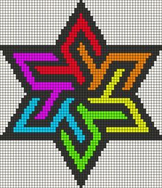 Rainbow stained glass star perler bead pattern or cross stitch Hama Beads Patterns, Loom Patterns, Beading Patterns, Bracelet Patterns, Embroidery Patterns, Quilt Patterns, Tapestry Crochet Patterns, Animal Patterns, Jewelry Patterns