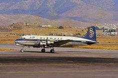 Olympic Airways Douglas DC 4 SX-DAG aircraft, rolling at Greece, Athens, Hellinikon Int'l Airport. (Delivered - Scrapped in Olympic Airlines, Douglas Dc 4, Commercial Plane, Air Space, Jet Plane, Athens, Olympics, Greece, Aviation