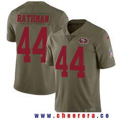 13dd7a9c4bc82 Men s San Francisco 49ers  44 Tom Rathman Olive 2017 Salute To Service  Stitched NFL Nike