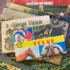 Now in, fun new #zipperedbags, small and large, w/ irresistible designs of #vintagepostcards from Texas artist Found Images.  www.mockingbirdhandprints.com