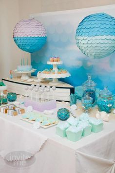 Mermaid + Beach Themed 5th Birthday Party Theme Girl Fifth Sea Blue Ocean
