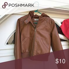 Faux leather jacket Light brown, faux leather jacket with hood in near perfect condition. Papaya Jackets & Coats Utility Jackets