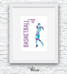 INSTANT DOWNLOAD: Basketball is my Thing Girl Silhouette, blue and purple triangles  NO PHYSICAL PRINTS INCLUDED