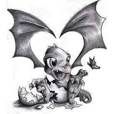 Cute baby dragon tattoo More