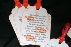 "12 Days of ring and run. A wonderful way to ""spoil"" a family every day for 12 days. Great family activity for christmas"