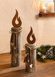 Holz-Säule Kerze 2 er Set Deko-Säule Weihnachtsdeko Holz Rostdeko rustikal Herz