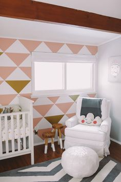 Pink & Gold Baby Nursery « Spearmint Baby. Love the paint!! Maybe with grey and gold for  more gender neutral nursery?