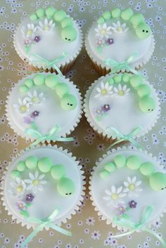 Beautiful springtime caterpillar cupcakes -- just the picture ... unless you want to buy them.