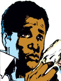 Cloak (of Cloak & Dagger) (Marvel Comics) face by Sienkiewicz. From http://www.writeups.org/cloak-marvel-comics-dagger-early/