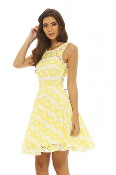 Yellow Floral Crotchet Sleeveless Skater Dress<br/><div class='zoom-vendor-name'>By <a href=http://www.ustrendy.com/AXParisUSA>AX Paris USA</a></div>