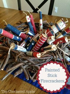 The Checkered Apple: Patriotic Painted Firecrackers