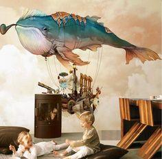Paper Wallpaper, Kids Wallpaper, Wallpaper Pictures, Room Wallpaper, Amazing Wallpaper, Kids Room Murals, Murals For Kids, Mural Art, Wall Art
