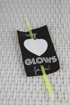 My Heart Glows for You NON-CANDY Valentine Idea with inexpensive glow sticks from the dollar store! #valentines