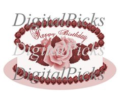 12x7.417 Pink Rose Happy Birthday Cake Digital by DigitalPicks