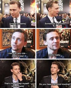 "Tom Hiddleston getting distracted while he is being interviewed! *His face @ ""Hello baby""* XD"