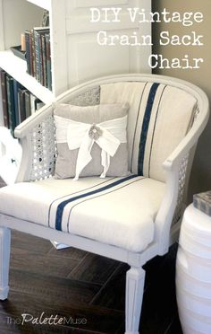 DIY Vintage grain sack style chair makeover with Chalk Paint and a Drop Cloth - The Palette Muse