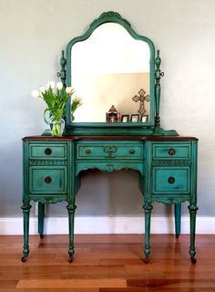 Antique Make-up Vanity with Mirror Teal #paintedfurniture #ad