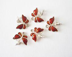 Sterling Silver Red Rust Enamel Butterfly by mynameisbetina,