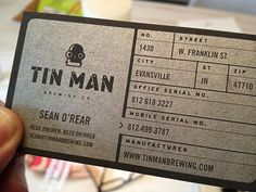 Tin Man Brewing Business Card in Card