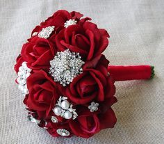 "Silk Red Brooch Wedding Bouquet - Natural Touch Roses and Flower Brooch Jewel 8"" Bride Bouquet - Rhinestones"