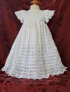 Bautizo blanco / bendición vestido resbalón por CherryHillCrochet