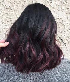 Hair Color Streaks, Hair Color For Black Hair, Dark Hair, Dyed Black Hair, Black Hair Ombre, Burgundy Balayage, Subtle Balayage, Black Hair With Highlights, Hair Color Highlights