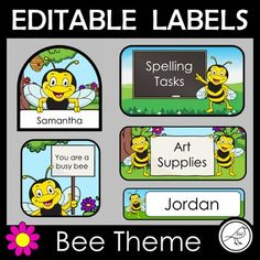 A set of cute editable labels for your classroom, all with a bee theme. Editable - simply click where it says 'edit' to change the text. You can also change the font, font size, font colour and location of the text box. There are 5 different types of labels (all shown on cover
