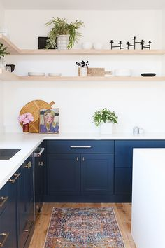 Navy Kitchen Cabinets and Open Shelving Modern Kitchen Cabinets Cabinets Kitchen Navy open SHELVING Home Decor Kitchen, Navy Kitchen, Modern Kitchen Cabinets, Open Shelving Kitchen Cabinets, Kitchen Remodel, Kitchen Cabinets Decor, Modern Kitchen Cabinet Design, New Kitchen Cabinets, Navy Kitchen Cabinets