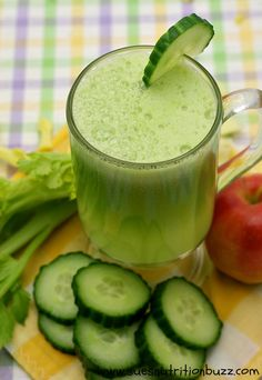 Cucumber Celery Apple Ginger Juice for Smooth Skin & Strong Hair !!